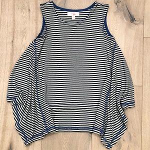 GB Girls Black/White Stripe Tank w/Blue Threading